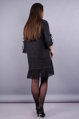 Чеслава. Женское платье больших размеров. Графит.