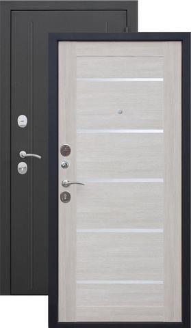 Дверь входная Бронин Грань 75 Муар царга, 2 замка, 1,4 мм  металл, (чёрный муар+акация светлая)