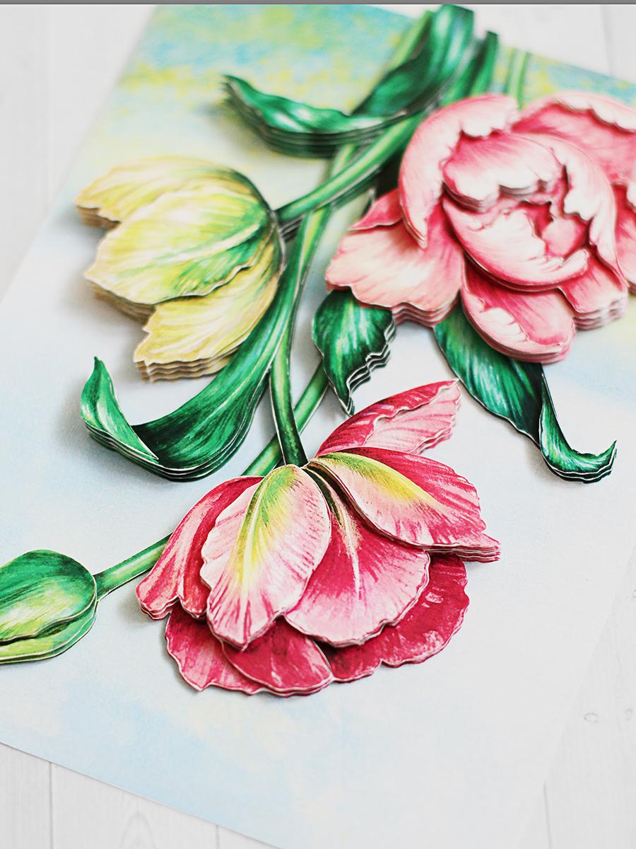 Папертоль Весенние тюльпаны - готовая работа, вид сверху