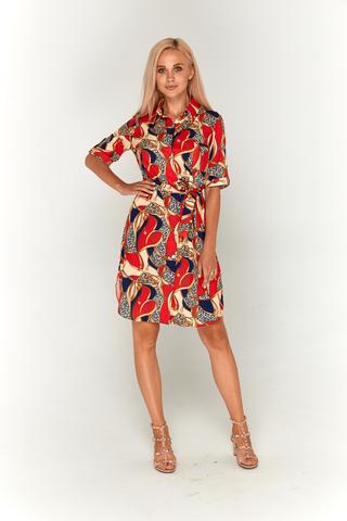 Сине-красное платье с принтом Lolly