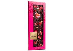 Горький шоколад с сердечками, лепестками розы и брусникой, 100г