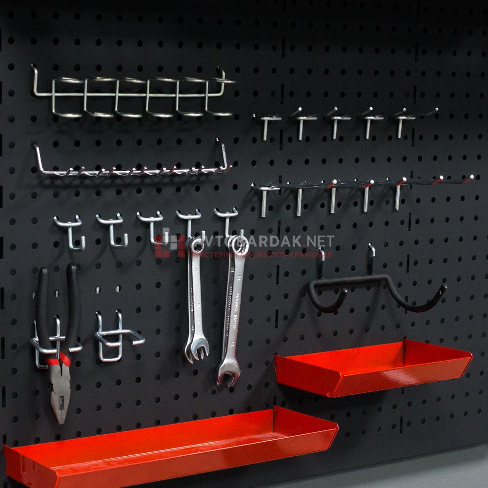Набор крючков и лотков на металлическую перфопанель