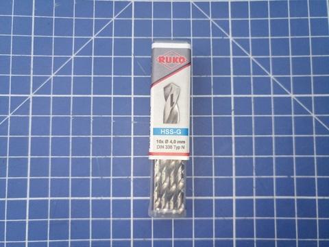 Сверло по металлу ц/x 4,0x75/43мм DIN338 h8 5xD HSS-G 118° Ruko 214040