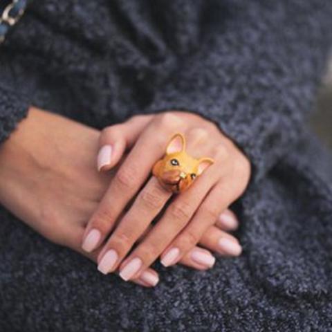 Кольцо Французский Бульдог (коричневый)