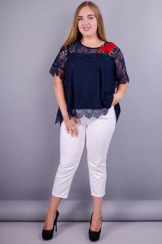 Квитка. Блуза из гипюра plus size. Синий.