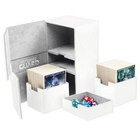 Ultimate Guard - Двойная кожаная белая коробочка с отделением для кубиков на 160 карт