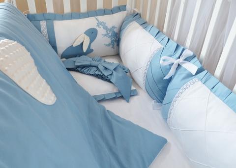 Комплект в кроватку Сказка, на 4 стороны кроватки, голубой
