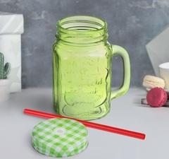 Баночка для смузи с ручкой салатовая