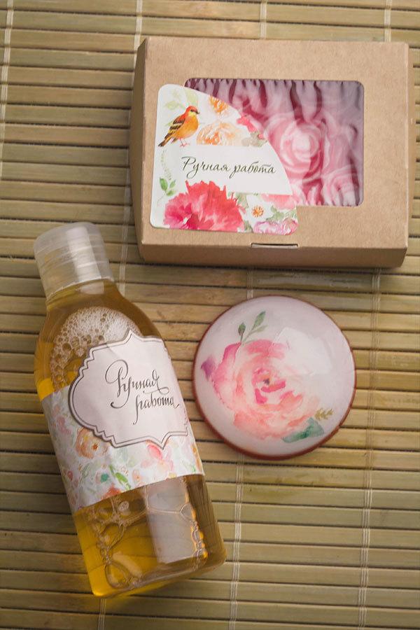 Этиклейка на коробку для мыла Акварель