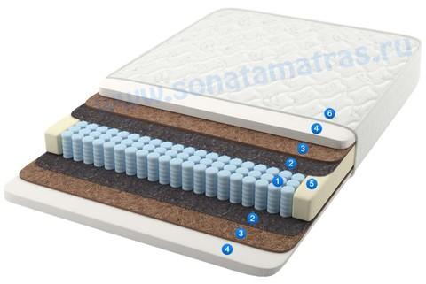 Матрас анатомический, 256 пружин, пружинный, односпальный,  средней жёсткости, с эффектом памяти и кокосом Aurora