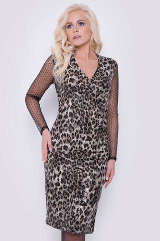 """Вы ищите идеальный образ? Можете уже не искать. Он уже есть. Стильное платье с идеальной посадкой, с модным принтом """"леопард"""". Отличный вариант на любое торжество. В этом наряде Вы обязательно будете в тренде."""