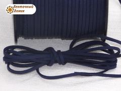 Шнур замшевый плоский темно-синий 3*1,5 мм