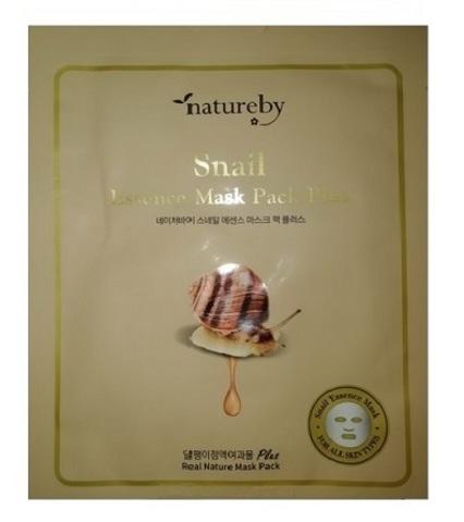 Natureby Тканевая питательная маска для лица с муцином улитки New 23г