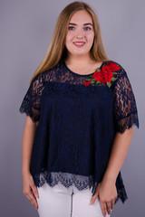 Квитка Роза. Блуза из гипюра plus size. Синий.