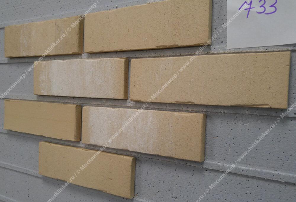 Плитка под кирпич Feldhaus Klinker, VASCU, R733NF14, поверхность Wasserstrich, crema pandra