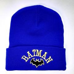 Вязаная шапка с вышивкой Бэтмен (Batman) голубая фото 3