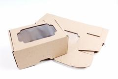 Коробка-трансформер с окном МГК крафт 8,5х13,5 h=6 см.