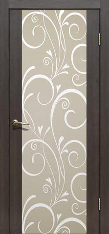Дверь La Stella 303 фотопечать с одной стороны (Венецианский узор), фотопечать с двух сторон, цвет дуб мокко, остекленная