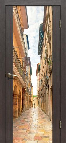Дверь La Stella 303 фотопечать с одной стороны (Брусчатка), фотопечать с двух сторон, цвет дуб мокко, остекленная