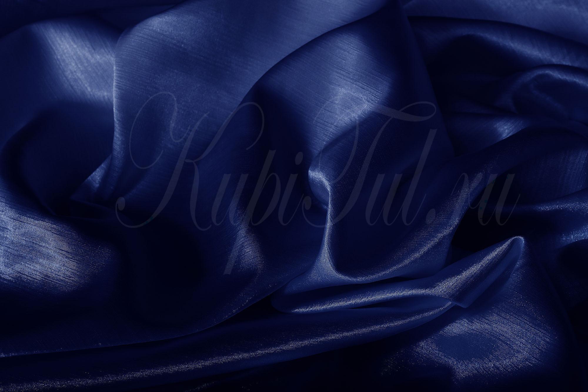 Длинные шторы. Leonardo (Синий),  однотонный шик-сатен.