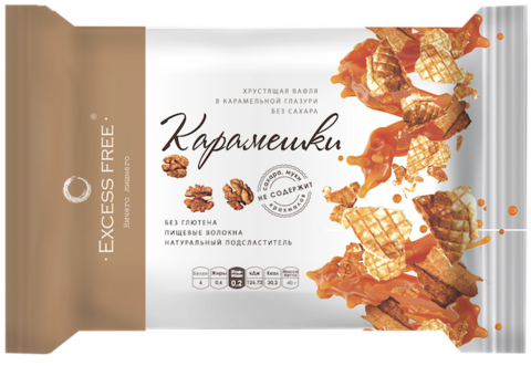 Вафельное печенье «Карамешки с орехами» без сахара, 40 гр