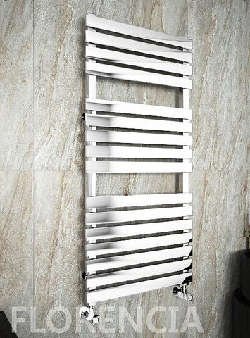 Florencia White - белый дизайн полотенцесушитель с прямоугольными горизонталями.