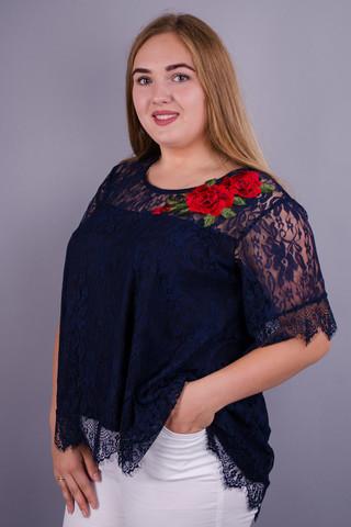 Квітка. Блуза з гіпюру plus size. Синій.