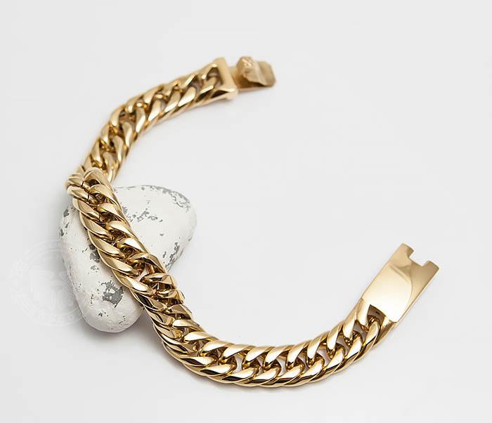 BM499-2 Золотистый мужской браслет из ювелирной стали (21 см) фото 01