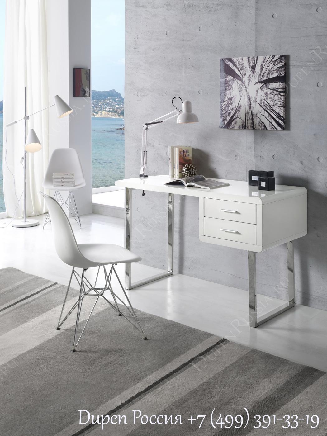 Компьютерный стол DUPEN DK-902 Белый, стул DUPEN PC231