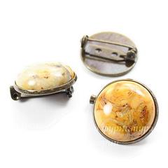 Основа для броши с сеттингом для кабошона 20 мм (цвет - античная бронза)