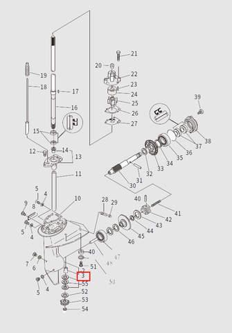 Втулка ниж. вертикального вала для лодочного мотора T9.8 Sea-PRO (13-3)