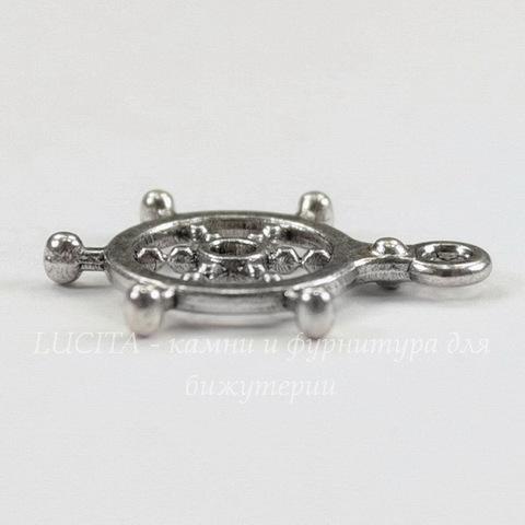 """Подвеска """"Штурвал"""" 20х17 мм (цвет - античное серебро)"""