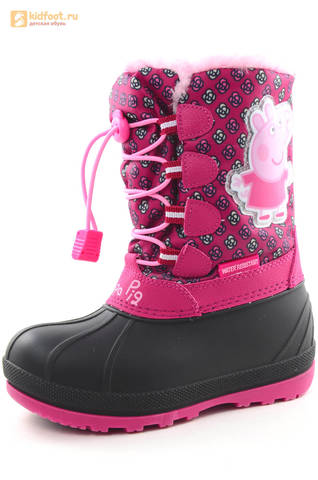Зимние сапоги для девочек непромокаемые с резиновой галошей Свинка Пеппа (Peppa Pig), цвет фуксия, Water Resistant. Изображение 1 из 16.