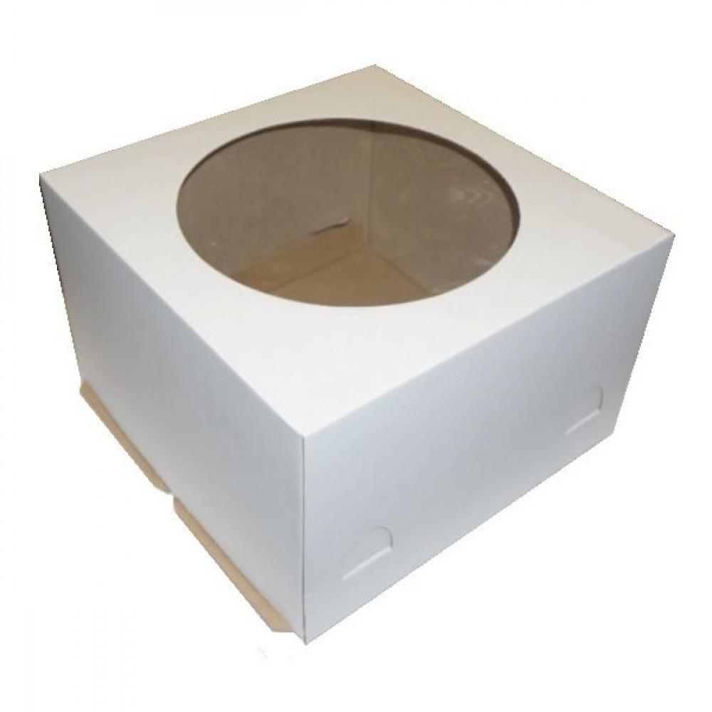 Коробка для торта с окном (300х300х190 мм)