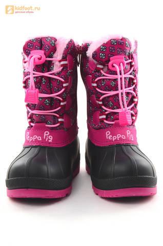 Зимние сапоги для девочек непромокаемые с резиновой галошей Свинка Пеппа (Peppa Pig), цвет фуксия, Water Resistant. Изображение 5 из 16.