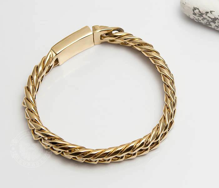 BM499-2 Золотистый мужской браслет из ювелирной стали (21 см) фото 03