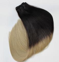 Тресс из натуральных волос длина 52 см-омбре темный шатен+пепельный блонд