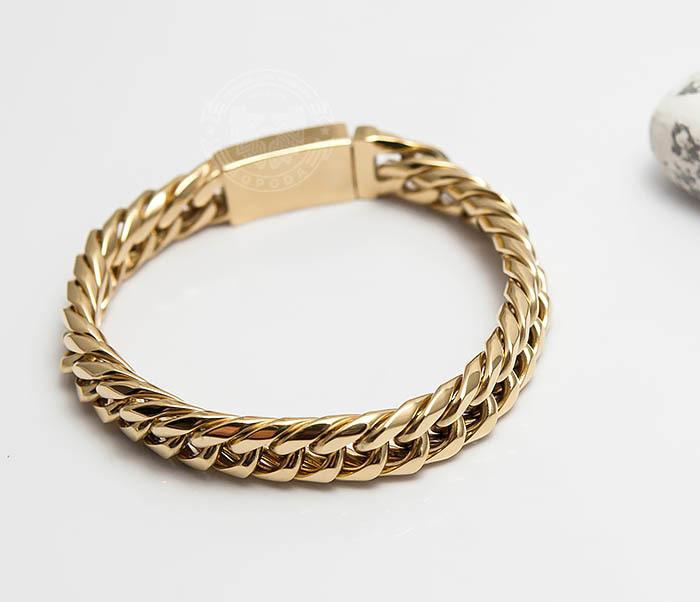 BM499-2 Золотистый мужской браслет из ювелирной стали (21 см) фото 04