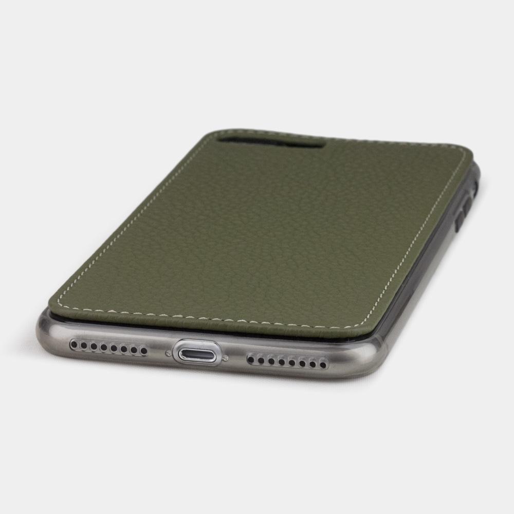 Чехол-накладка для iPhone 8 Plus из натуральной кожи теленка, зеленого цвета