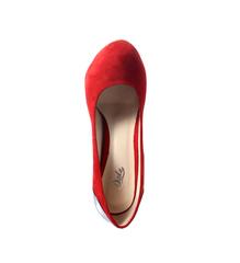 Туфли замшевые, высокий каблук, танкетка скрытая