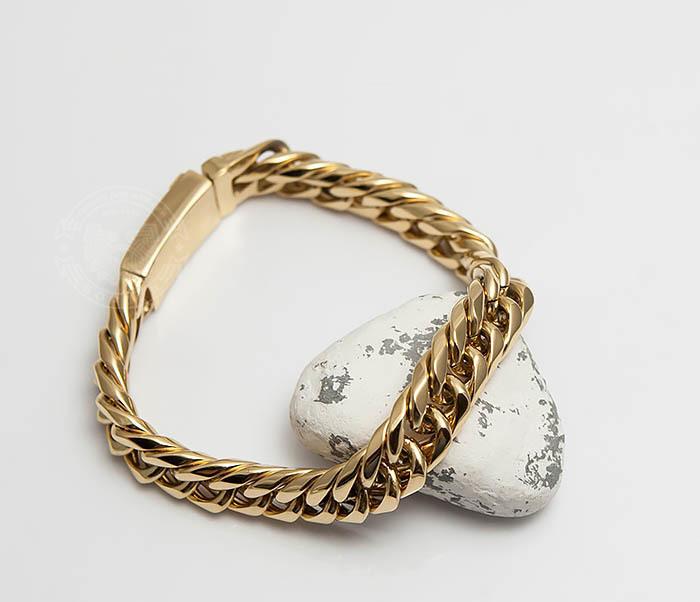 BM499-2 Золотистый мужской браслет из ювелирной стали (21 см) фото 05