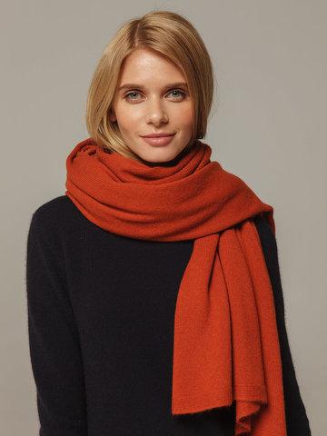 Женский шарф оранжевого цвета из 100% кашемира - фото 2