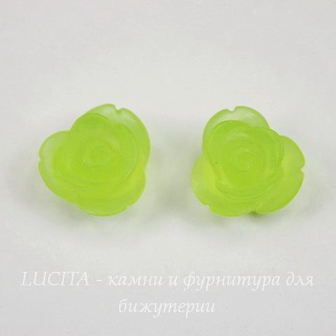 """Кабошон акриловый """"Розочка"""", цвет - зеленый, 13 мм"""