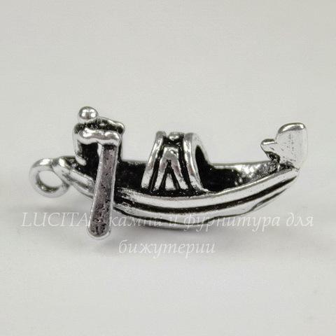 "Подвеска ""Гондола"" (цвет - античное серебро) 23х11 мм"