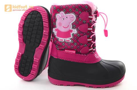 Зимние сапоги для девочек непромокаемые с резиновой галошей Свинка Пеппа (Peppa Pig), цвет фуксия, Water Resistant. Изображение 9 из 16.