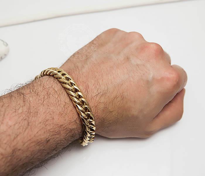 BM499-2 Золотистый мужской браслет из ювелирной стали (21 см) фото 06