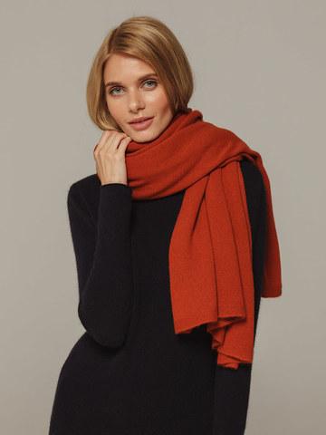 Женский шарф оранжевого цвета из 100% кашемира - фото 3