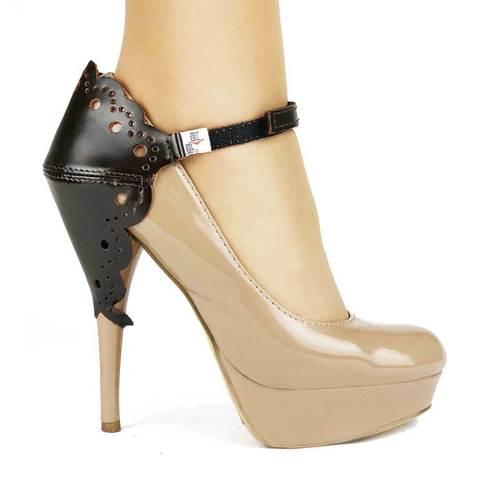 Автопятка для женской обуви на каблуке ажурная коричневая