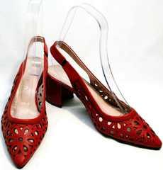 Женские туфли с открытой пяткой G.U.E.R.O G067-TN Red.