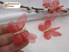 Бабочки шифоновые с золотым тельцем красные  №5